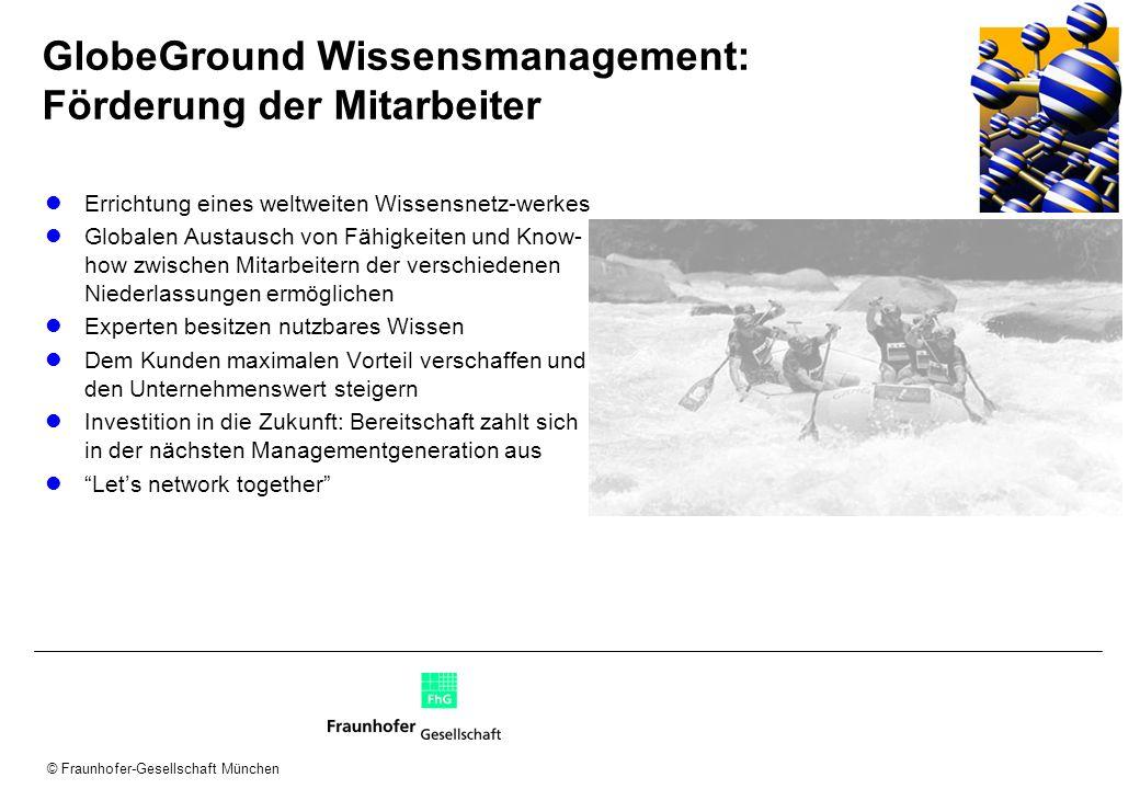 © Fraunhofer-Gesellschaft München GlobeGround Wissensmanagement: Förderung der Mitarbeiter Errichtung eines weltweiten Wissensnetz-werkes Globalen Aus