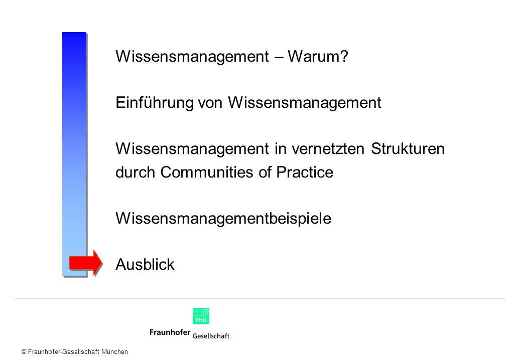 © Fraunhofer-Gesellschaft München Wissensmanagement – Warum? Einführung von Wissensmanagement Wissensmanagement in vernetzten Strukturen durch Communi