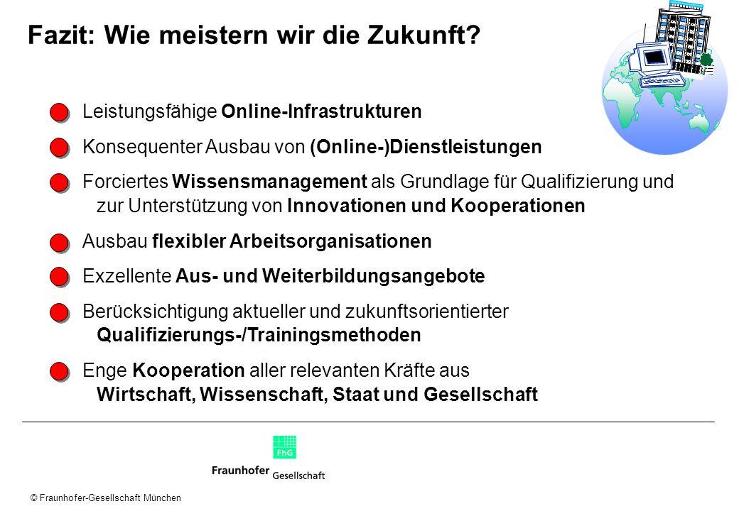 © Fraunhofer-Gesellschaft München Leistungsfähige Online-Infrastrukturen Konsequenter Ausbau von (Online-)Dienstleistungen Forciertes Wissensmanagemen