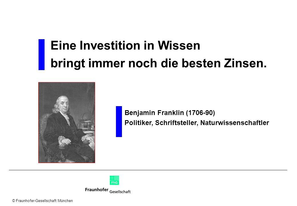 © Fraunhofer-Gesellschaft München Wissensprozess Identifikation Entwicklung Kommunikation Nutzung Bewahrung Wie schaffe ich Transparenz über vorhandenes Wissen.