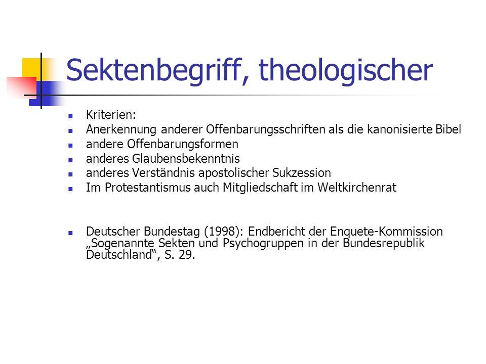 Sektenbegriff, theologischer Kriterien: Anerkennung anderer Offenbarungsschriften als die kanonisierte Bibel andere Offenbarungsformen anderes Glauben