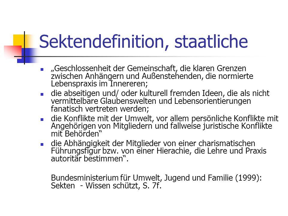 Sektendefinition, staatliche Geschlossenheit der Gemeinschaft, die klaren Grenzen zwischen Anhängern und Außenstehenden, die normierte Lebenspraxis im