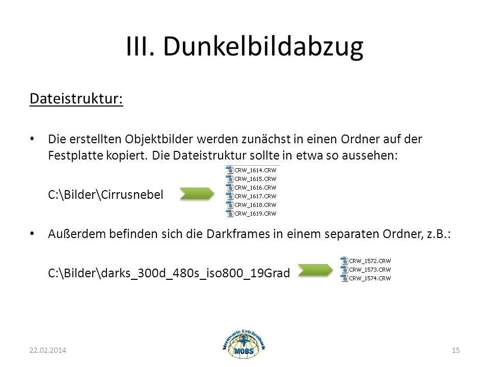 III. Dunkelbildabzug 22.02.201415 Dateistruktur: Die erstellten Objektbilder werden zunächst in einen Ordner auf der Festplatte kopiert. Die Dateistru
