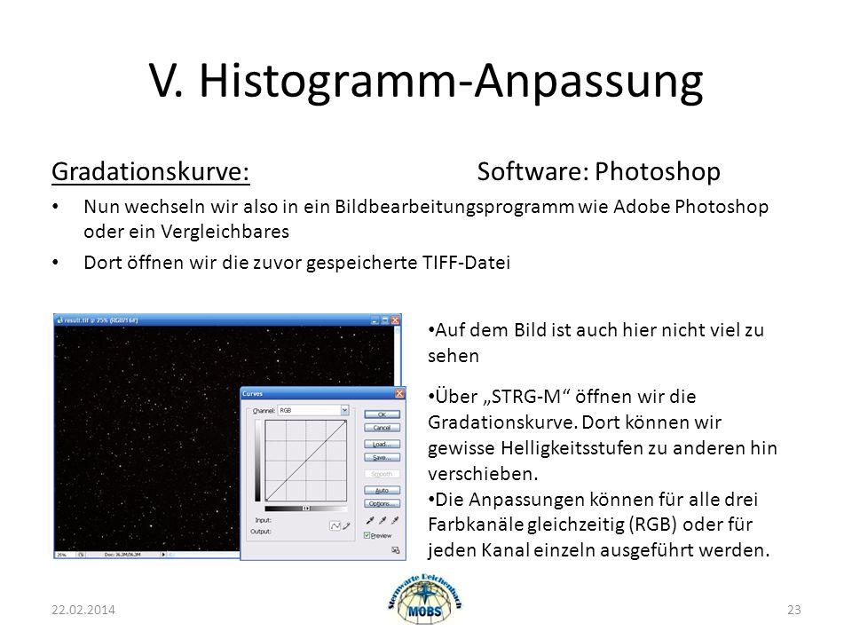 V. Histogramm-Anpassung Gradationskurve:Software: Photoshop Nun wechseln wir also in ein Bildbearbeitungsprogramm wie Adobe Photoshop oder ein Verglei