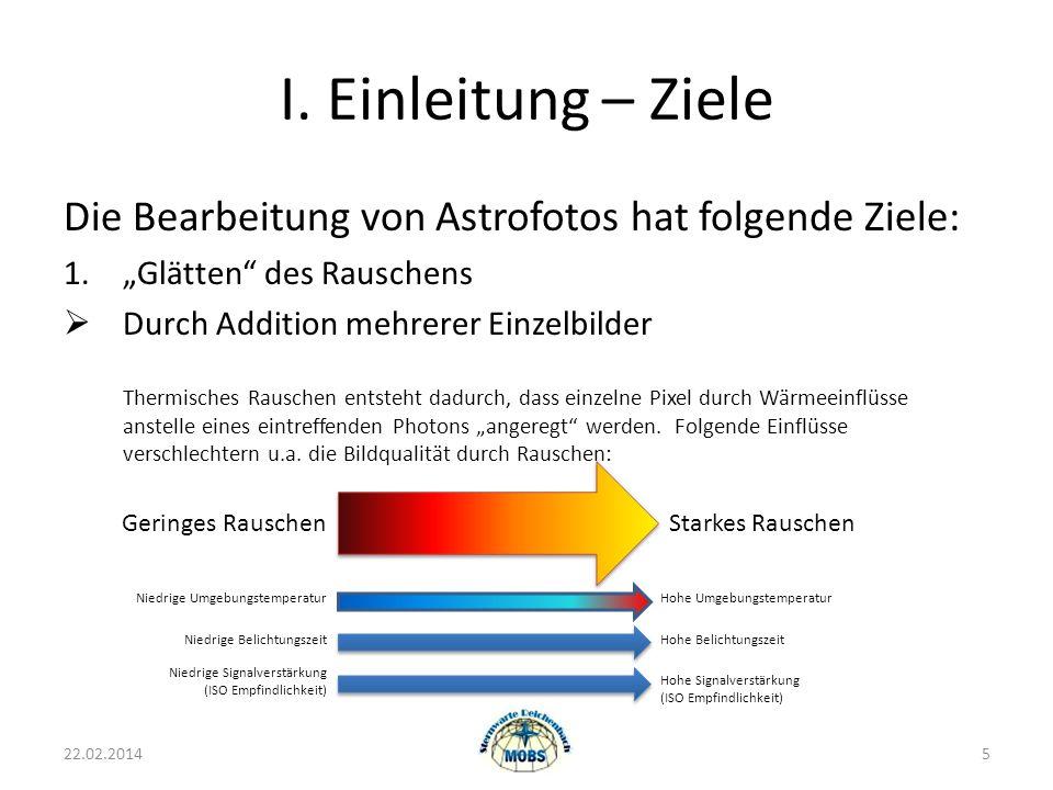 I. Einleitung – Ziele Die Bearbeitung von Astrofotos hat folgende Ziele: 1.Glätten des Rauschens Durch Addition mehrerer Einzelbilder Thermisches Raus
