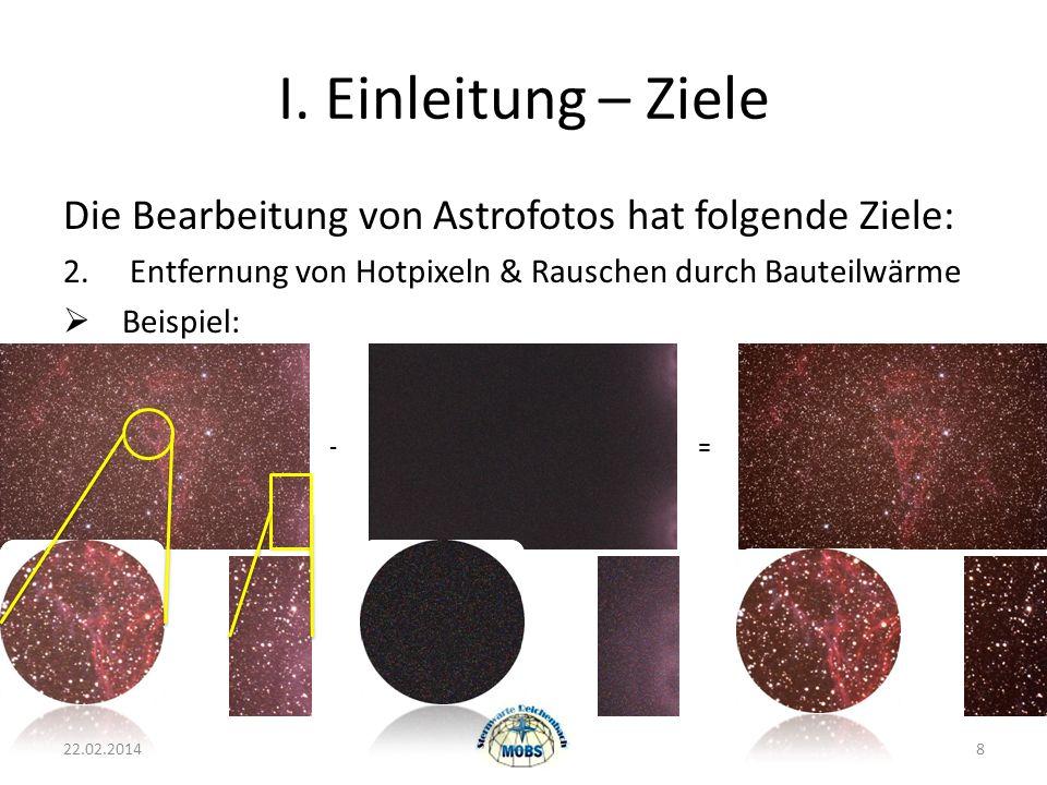 I.Einleitung – Ziele Die Bearbeitung von Astrofotos hat folgende Ziele: 2.