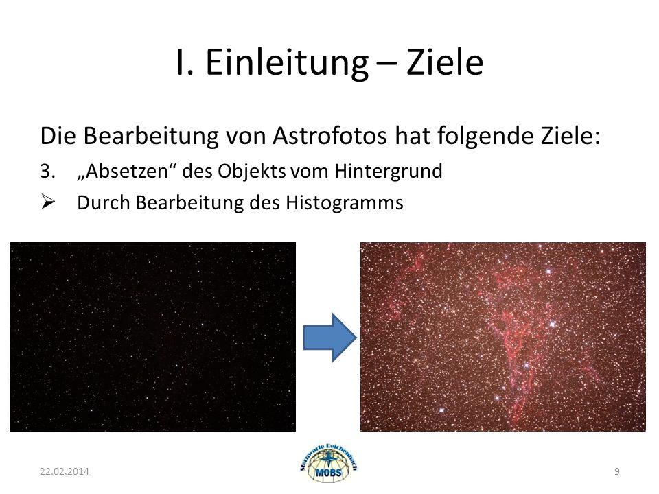 I. Einleitung – Ziele Die Bearbeitung von Astrofotos hat folgende Ziele: 3.Absetzen des Objekts vom Hintergrund Durch Bearbeitung des Histogramms 22.0