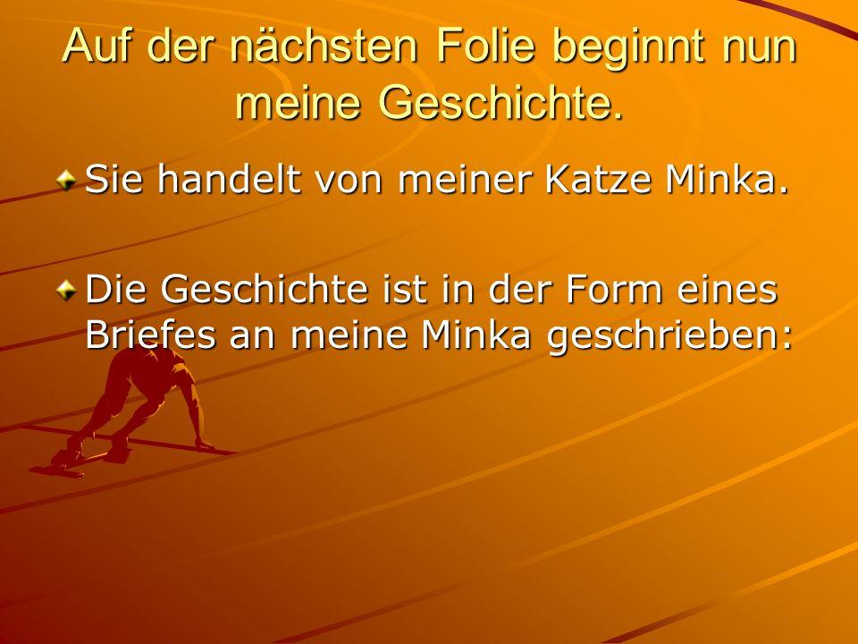Auf der nächsten Folie beginnt nun meine Geschichte. Sie handelt von meiner Katze Minka. Die Geschichte ist in der Form eines Briefes an meine Minka g
