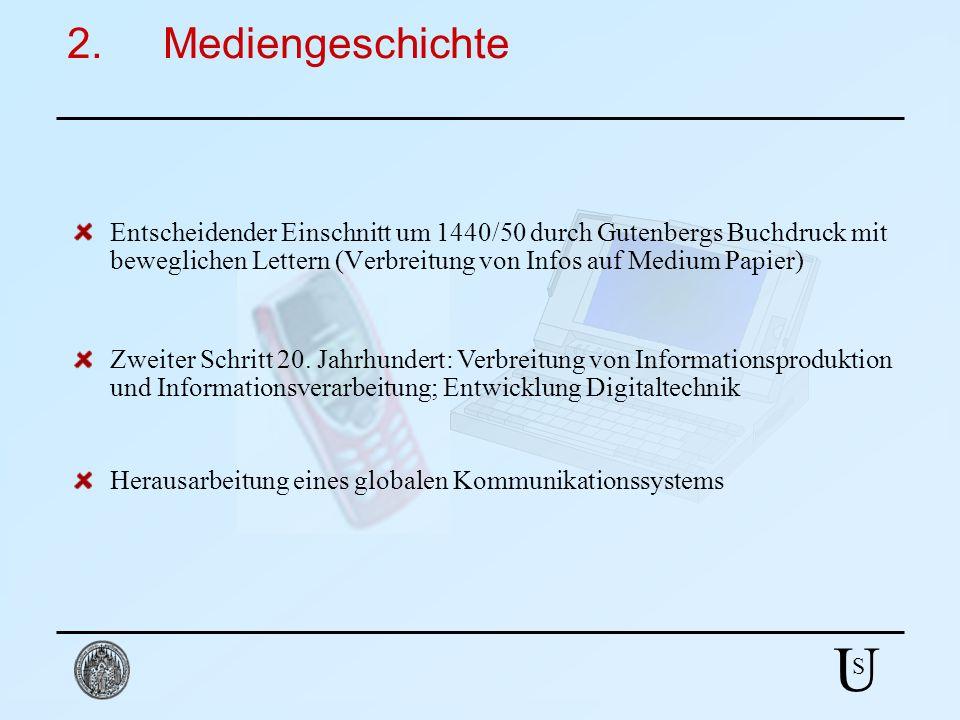 U S 2.Mediengeschichte Entscheidender Einschnitt um 1440/50 durch Gutenbergs Buchdruck mit beweglichen Lettern (Verbreitung von Infos auf Medium Papie