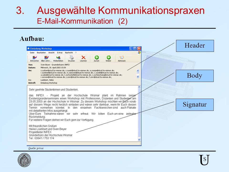 U S 3.Ausgewählte Kommunikationspraxen E-Mail-Kommunikation (2) Aufbau: Header Body Signatur Quelle: privat