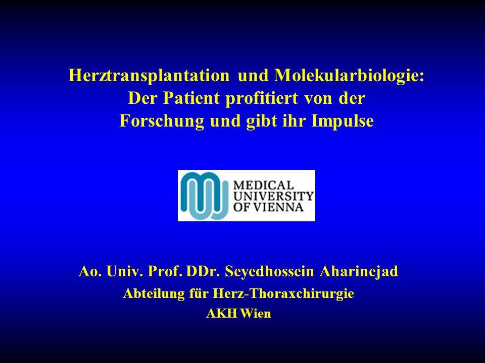 Herzinsuffizienz im Endstadium Herztransplantation Komplikationen: –Primäres Transplantatversagen –Akute Abstoßung –Graftvaskulopathie Molekularbiologie: neue Perspektiven für optimale Patientenauswahl und Therapie