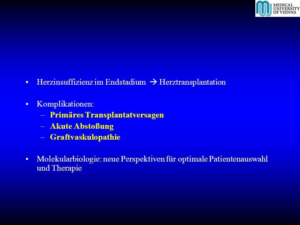 Herzinsuffizienz im Endstadium Herztransplantation Komplikationen: –Primäres Transplantatversagen –Akute Abstoßung –Graftvaskulopathie Molekularbiolog