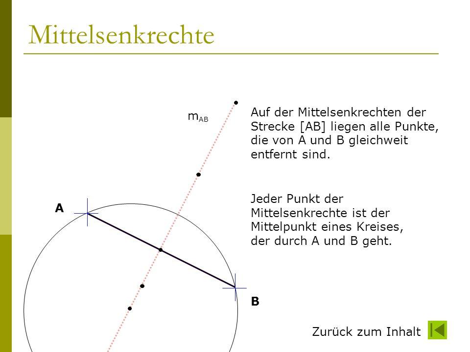 Zurück zum Inhalt Eigenschaften der Mittelsenkrechte Die Mittelsenkrechte Geht durch die Mitte der Strecke Steht senkrecht auf der Strecke Ist Symmetrieachse der beiden Punkte Ist Symmetrieachse der Strecke