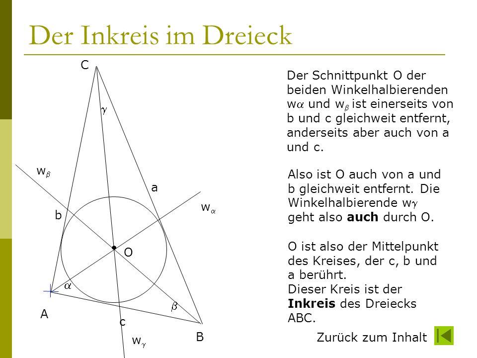 Zurück zum Inhalt Der Inkreis im Dreieck A w b c B C Der Schnittpunkt O der beiden Winkelhalbierenden w und w ist einerseits von b und c gleichweit en