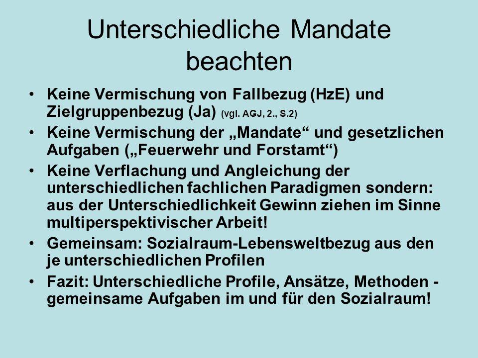 Unterschiedliche Mandate beachten Keine Vermischung von Fallbezug (HzE) und Zielgruppenbezug (Ja) (vgl. AGJ, 2., S.2) Keine Vermischung der Mandate un