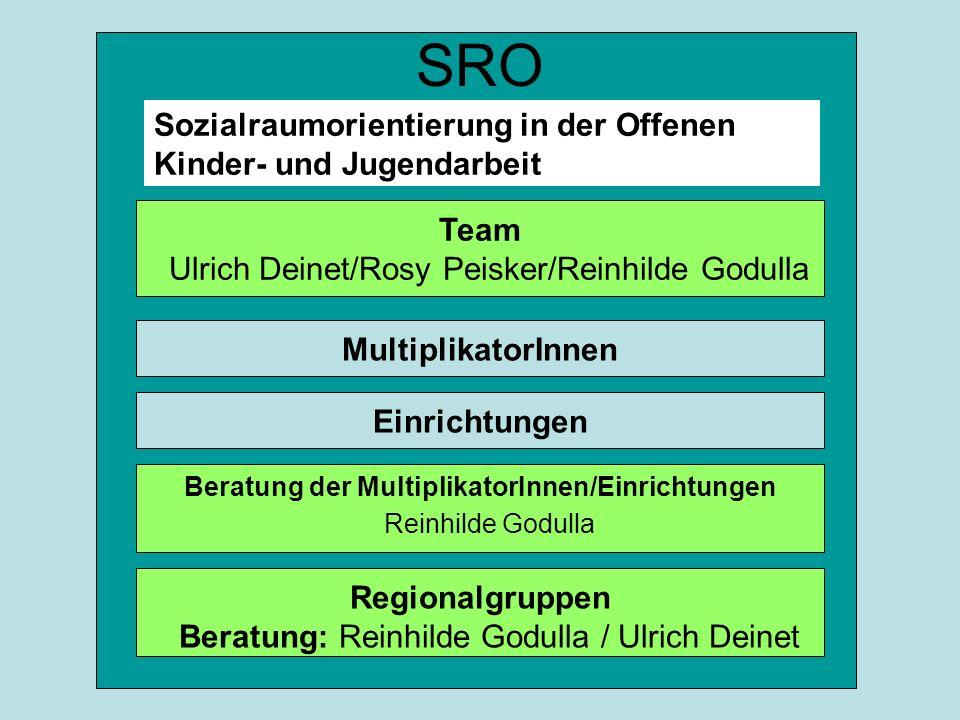 SRO Sozialraumorientierung in der Offenen Kinder- und Jugendarbeit Team Ulrich Deinet/Rosy Peisker/Reinhilde Godulla MultiplikatorInnen Einrichtungen