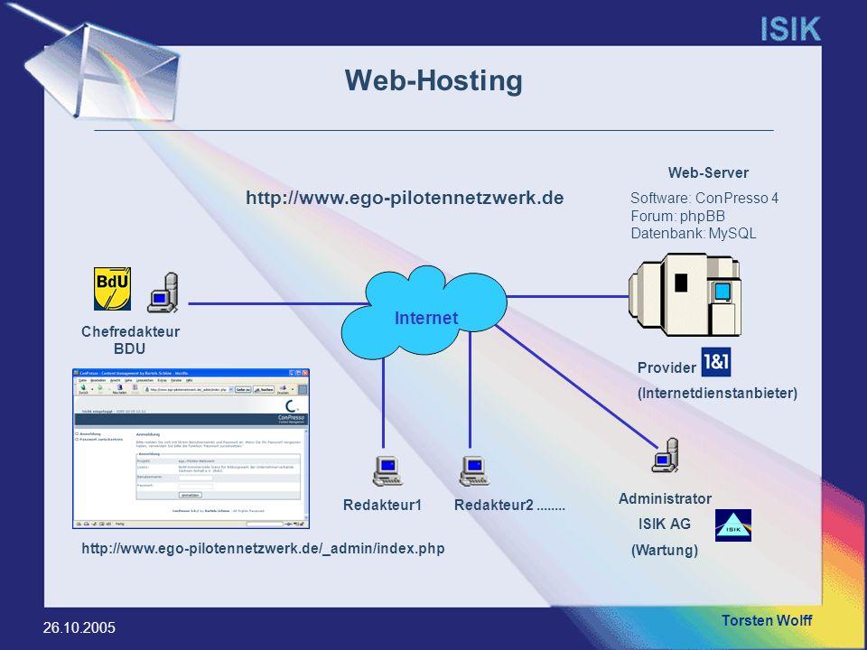 Torsten Wolff 26.10.2005 Web-Hosting Redakteur1Redakteur2........ Chefredakteur BDU Administrator ISIK AG (Wartung) Internet Web-Server Software: ConP