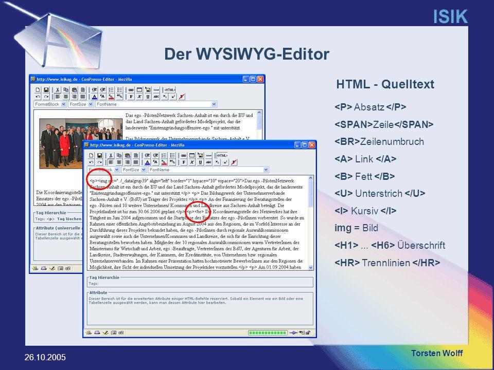 Torsten Wolff 26.10.2005 Der WYSIWYG-Editor Absatz Zeile Zeilenumbruch Link Fett Unterstrich Kursiv img = Bild... Überschrift Trennlinien HTML - Quell