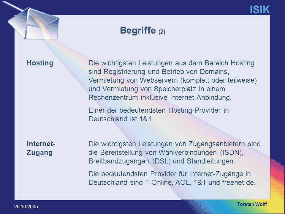 Torsten Wolff 26.10.2005 HostingDie wichtigsten Leistungen aus dem Bereich Hosting sind Registrierung und Betrieb von Domains, Vermietung von Webserve
