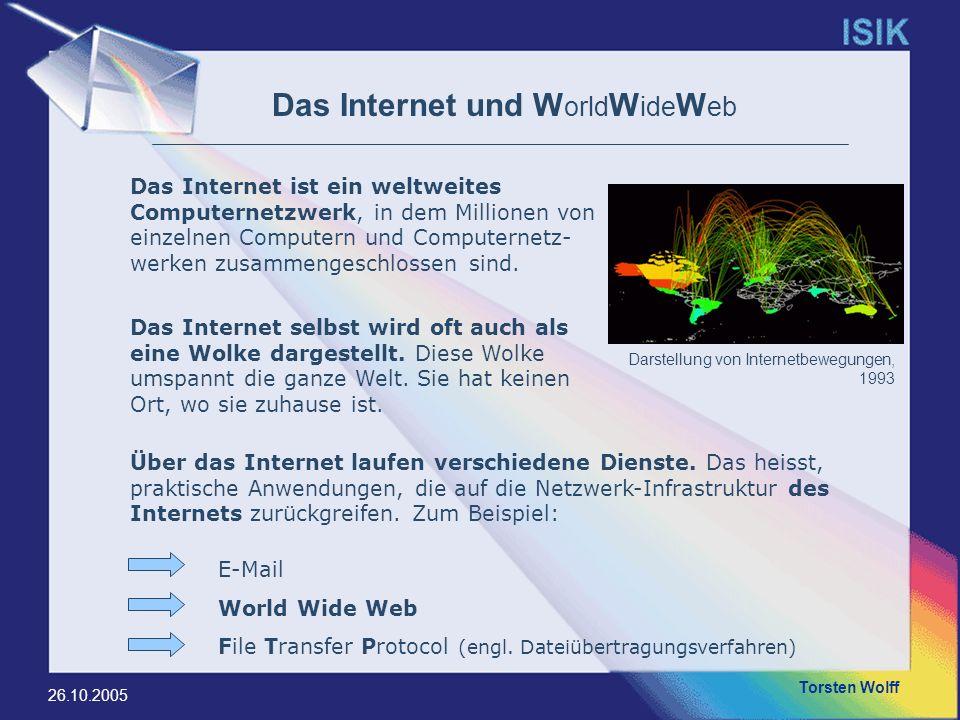 Torsten Wolff 26.10.2005 World Wide Web (WWW) I Das World Wide Web (kurz Web, WWW oder deutsch: Weltweites Netz, Weltweites Netzwerk; wörtlich: web = Gewebe, Netz) ist ein über das Internet abrufbares Hypertext-System.Internet Hypertext Hierzu benötigt man einem Webbrowser, um die Daten vom Webserver zu holen und z.