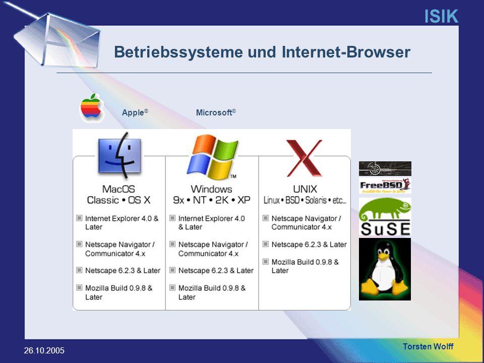 Torsten Wolff 26.10.2005 Internet – Explorer (OS: Windows, Mac OS) Opera (OS: Windows, Linux) Konquerror (OS: Linux) Safari (OS: Mac OS) Mozilla (OS: Windows, Linux, MAC OS) Mozilla Firefox (OS: Windows, Linux) Netscape (OS: Windows, Linux) Mozilla Camino (OS: Mac OS) Internet-Browser to browse = durchblättern, schmökern, sich umsehen