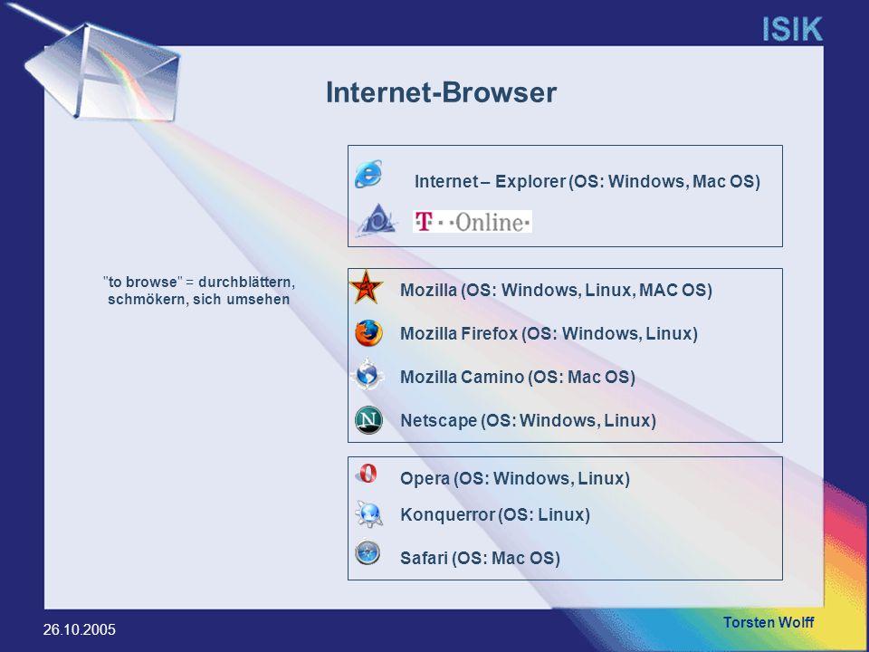 Torsten Wolff 26.10.2005 Browser VersionenApril 2004März 2005April 2005 Firefox11,4 %38,5 %39,6 % Internet Explorer 6.0x40,2 %29,5 %29,7 % Gecko (Mozilla/Netscape 6 o.ä.)19,8 %9.7 %9,2 % Andere/Unbekannt7,3 %8,3 %7,4 % Opera 7.x8,7 %5,7 %5,1 % Apple Safari2,2 %2,3 %2,7 % KDE Konqueror2,9 %2,4 %2,2 % Opera 8--1,1 %1,9 % Internet Explorer 5.5x4,0 %1,5 %1,4 % Internet Explorer 5.0x2,3 %0,9 %0,8 % Browser-Nutzungs-Statistik (Heise-Online)