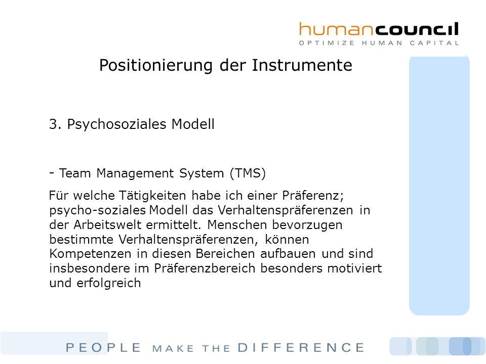 Positionierung der Instrumente 3. Psychosoziales Modell - Team Management System (TMS) Für welche Tätigkeiten habe ich einer Präferenz; psycho-soziale