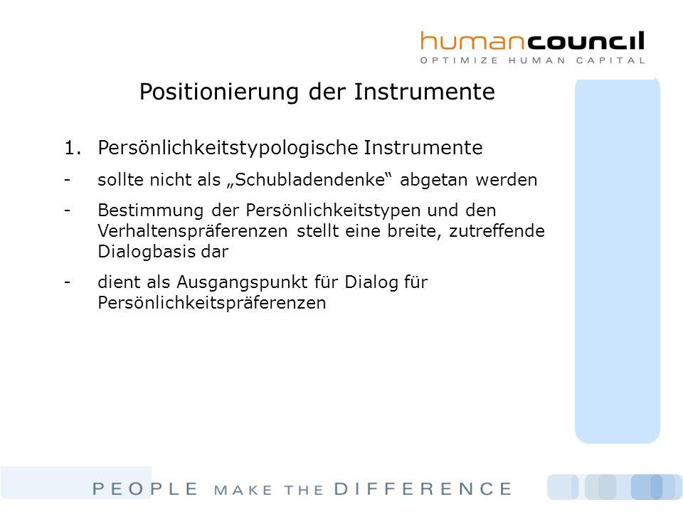 Positionierung der Instrumente 1.Persönlichkeitstypologische Instrumente -sollte nicht als Schubladendenke abgetan werden -Bestimmung der Persönlichke