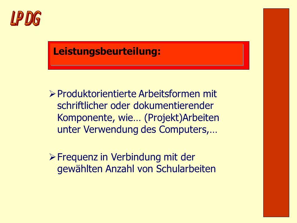 Leistungsbeurteilung: Produktorientierte Arbeitsformen mit schriftlicher oder dokumentierender Komponente, wie… (Projekt)Arbeiten unter Verwendung des