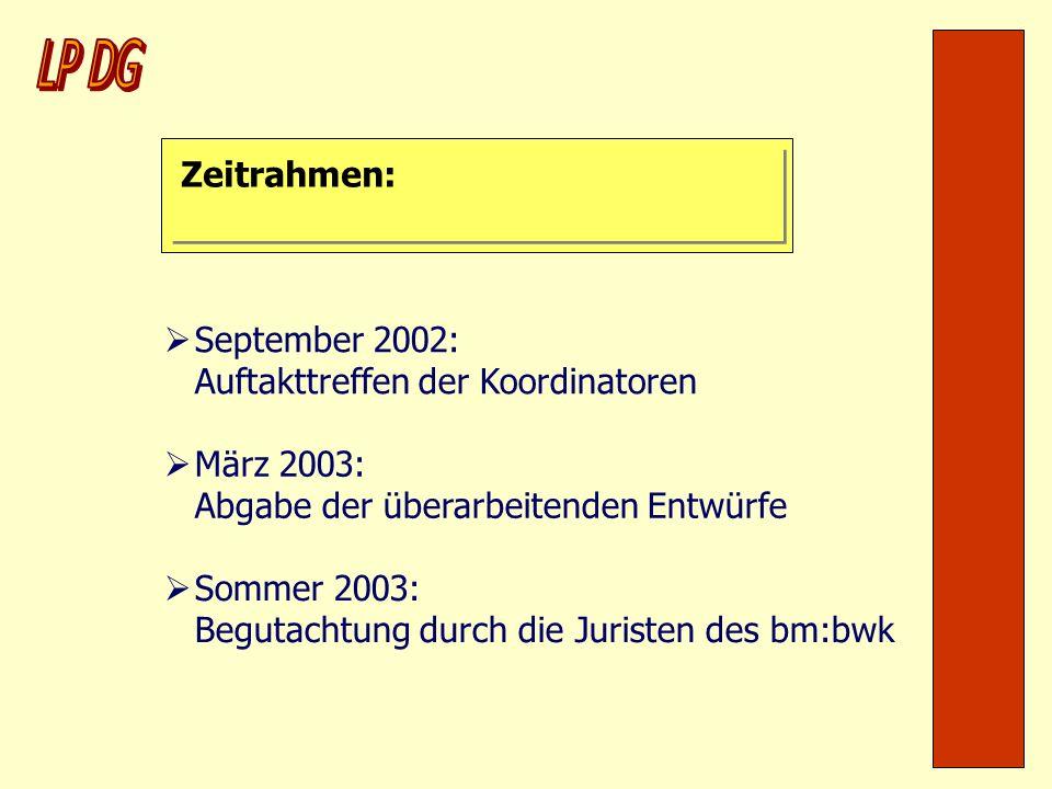 Zeitrahmen: September 2002: Auftakttreffen der Koordinatoren März 2003: Abgabe der überarbeitenden Entwürfe Sommer 2003: Begutachtung durch die Jurist