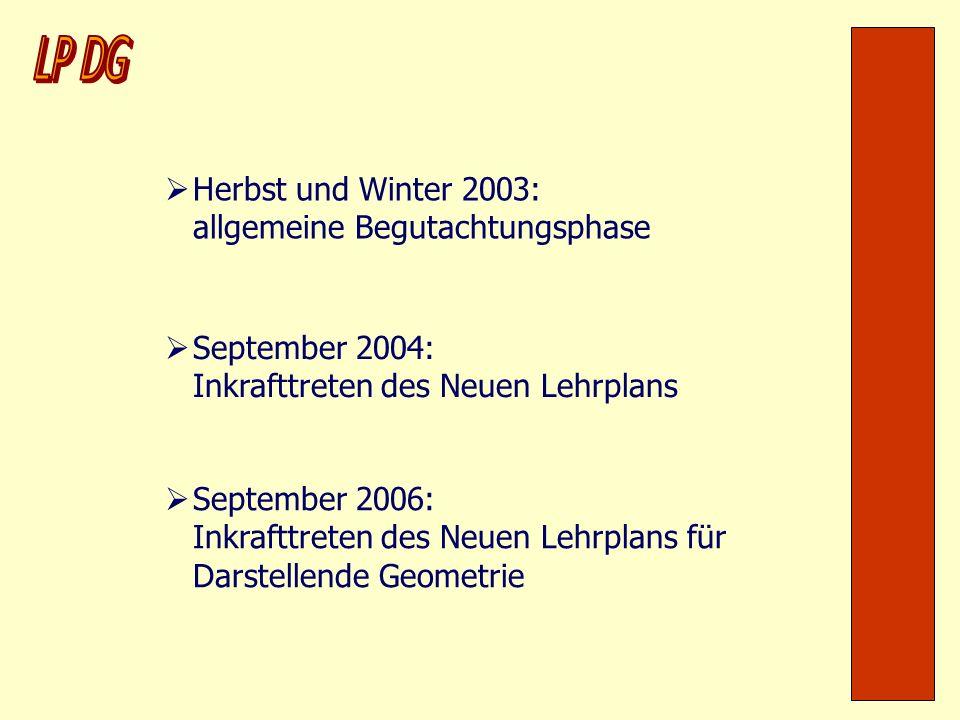 Herbst und Winter 2003: allgemeine Begutachtungsphase September 2004: Inkrafttreten des Neuen Lehrplans September 2006: Inkrafttreten des Neuen Lehrpl
