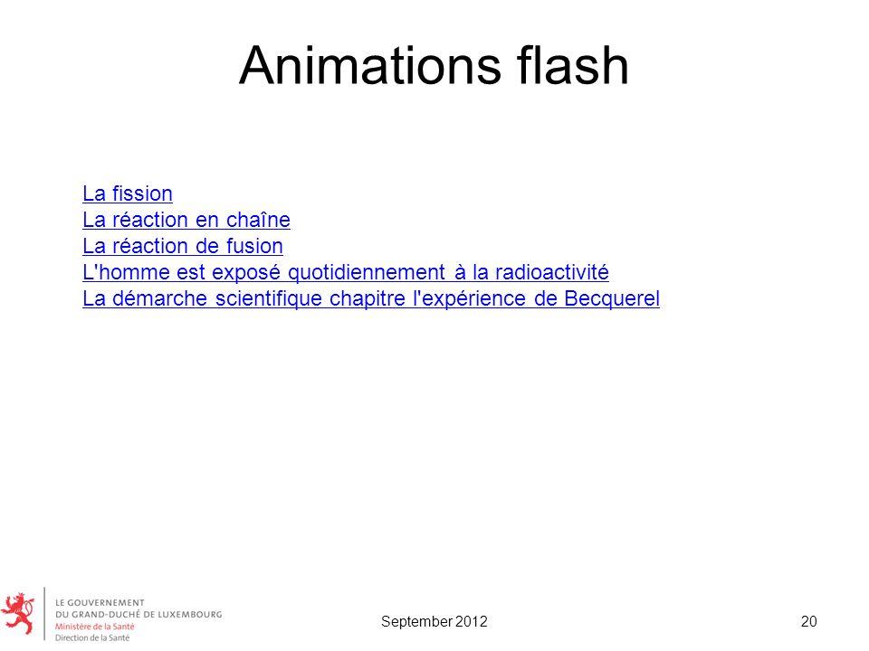 Animations flash 20 La fission La réaction en chaîne La réaction de fusion L'homme est exposé quotidiennement à la radioactivité La démarche scientifi