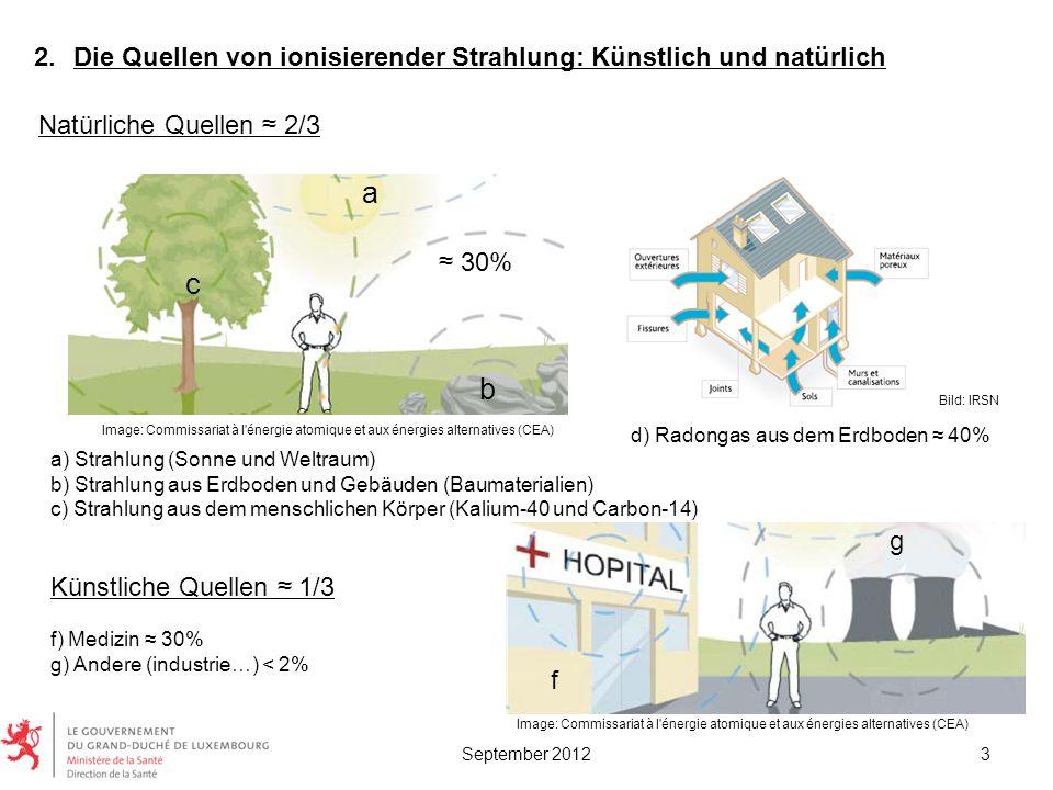 Bild: IRSN 2.Die Quellen von ionisierender Strahlung: Künstlich und natürlich Künstliche Quellen 1/3 f) Medizin 30% g) Andere (industrie…) < 2% a) Str