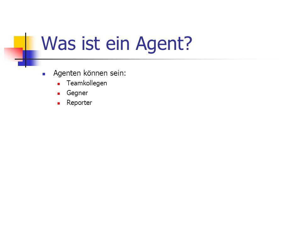 Was ist ein Agent? Agenten können sein: Teamkollegen Gegner Reporter