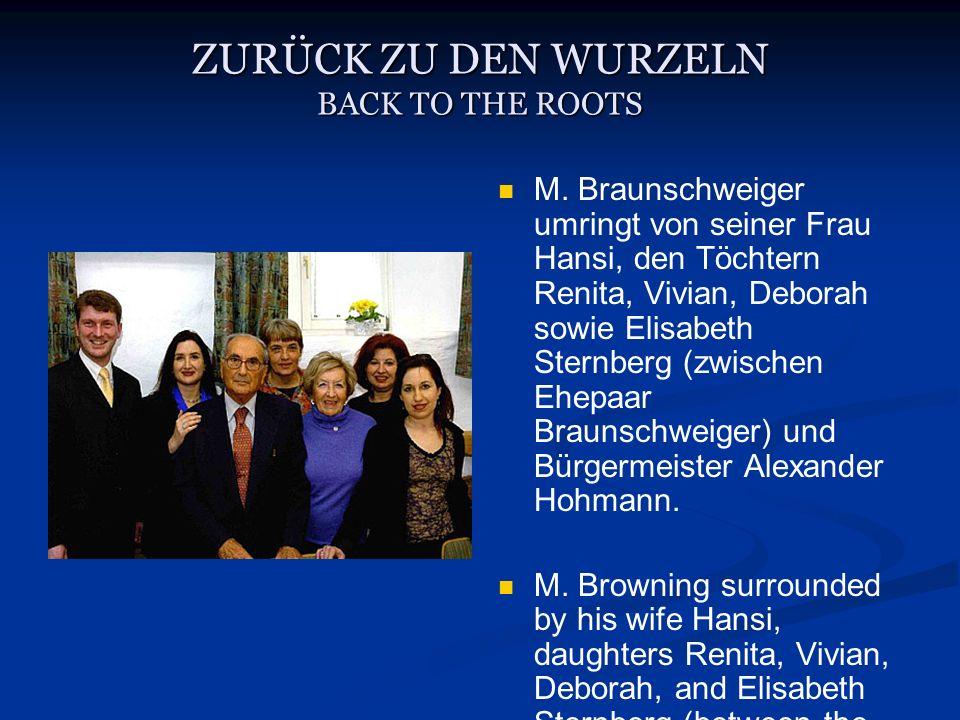 M. Braunschweiger umringt von seiner Frau Hansi, den Töchtern Renita, Vivian, Deborah sowie Elisabeth Sternberg (zwischen Ehepaar Braunschweiger) und