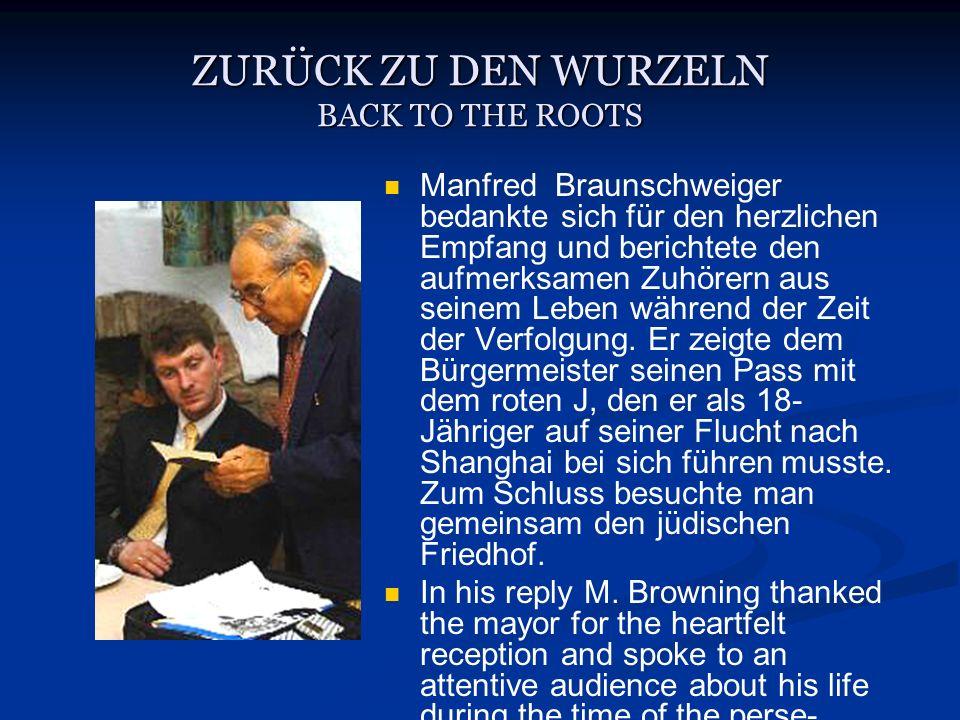 Manfred Braunschweiger bedankte sich für den herzlichen Empfang und berichtete den aufmerksamen Zuhörern aus seinem Leben während der Zeit der Verfolgung.