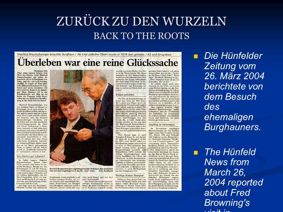 ZURÜCK ZU DEN WURZELN BACK TO THE ROOTS Die Hünfelder Zeitung vom 26.