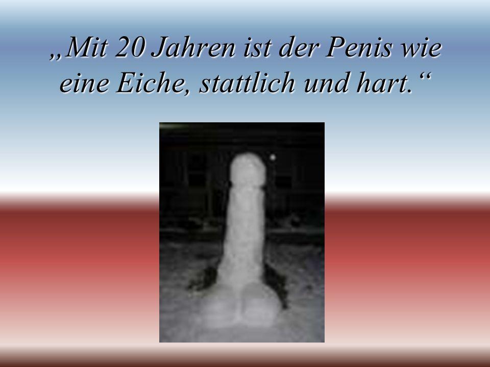 Mit 20 Jahren ist der Penis wie eine Eiche, stattlich und hart.