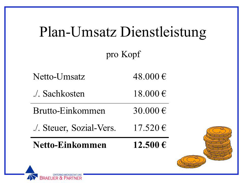 Plan-Umsatz Dienstleistung pro Kopf Netto-Umsatz48.000./. Sachkosten18.000 Brutto-Einkommen30.000./. Steuer, Sozial-Vers.17.520 Netto-Einkommen12.500