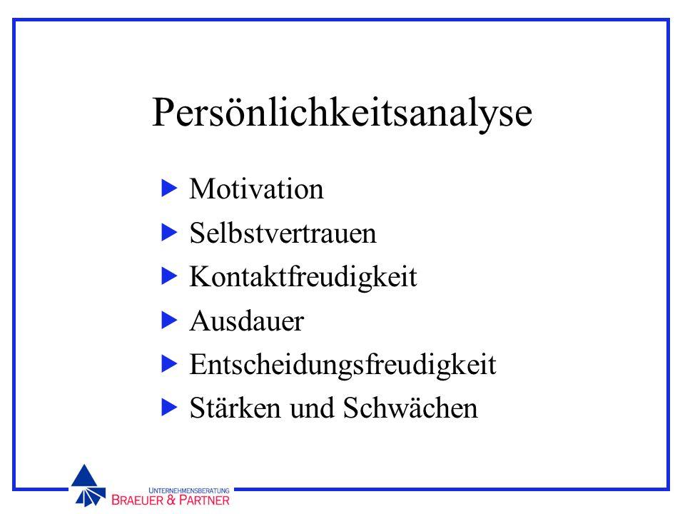 Persönlichkeitsanalyse Motivation Selbstvertrauen Kontaktfreudigkeit Ausdauer Entscheidungsfreudigkeit Stärken und Schwächen