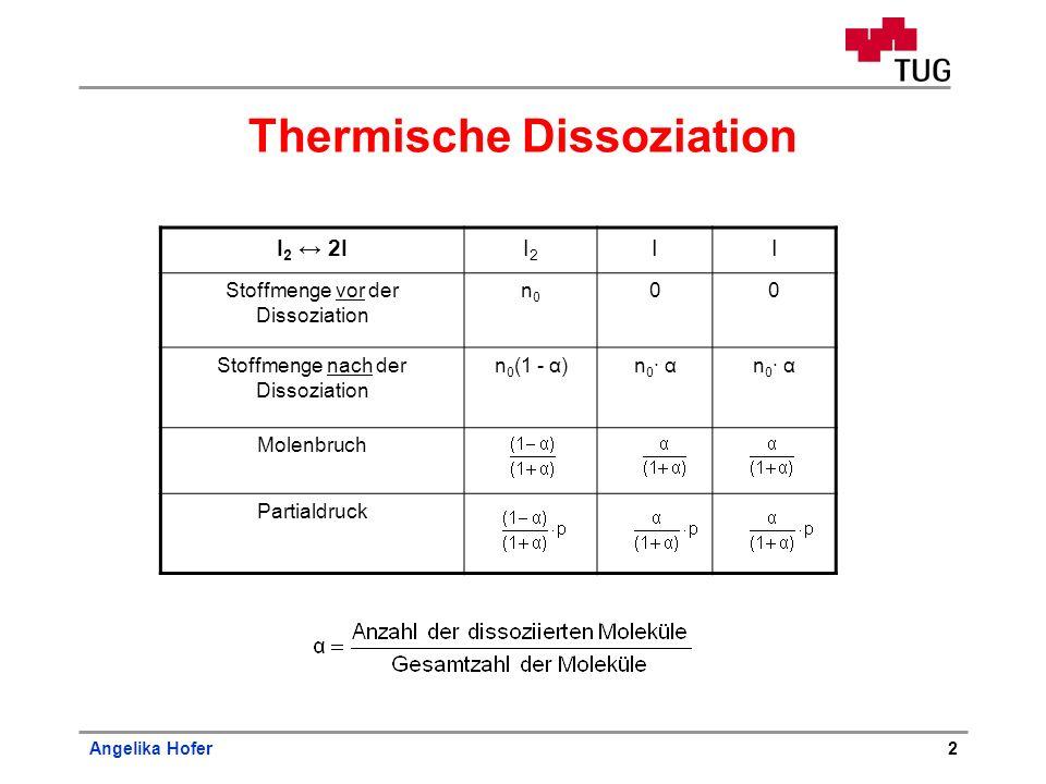 Angelika Hofer2 Thermische Dissoziation I 2 2II2I2 II Stoffmenge vor der Dissoziation n0n0 00 Stoffmenge nach der Dissoziation n 0 (1 - α)n 0 · α Mole