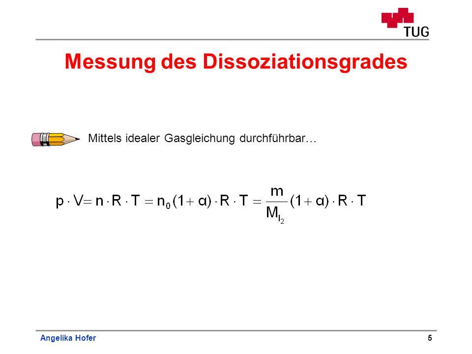 Angelika Hofer5 Messung des Dissoziationsgrades Mittels idealer Gasgleichung durchführbar…