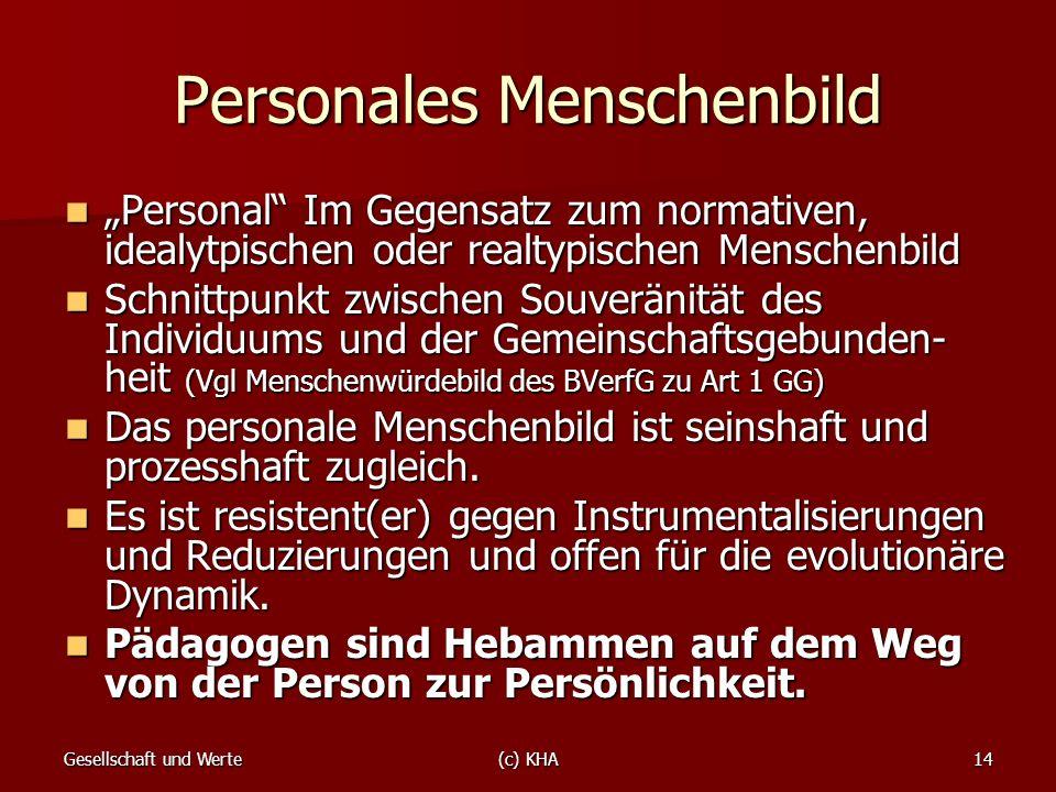 Gesellschaft und Werte(c) KHA14 Personales Menschenbild Personal Im Gegensatz zum normativen, idealytpischen oder realtypischen Menschenbild Personal