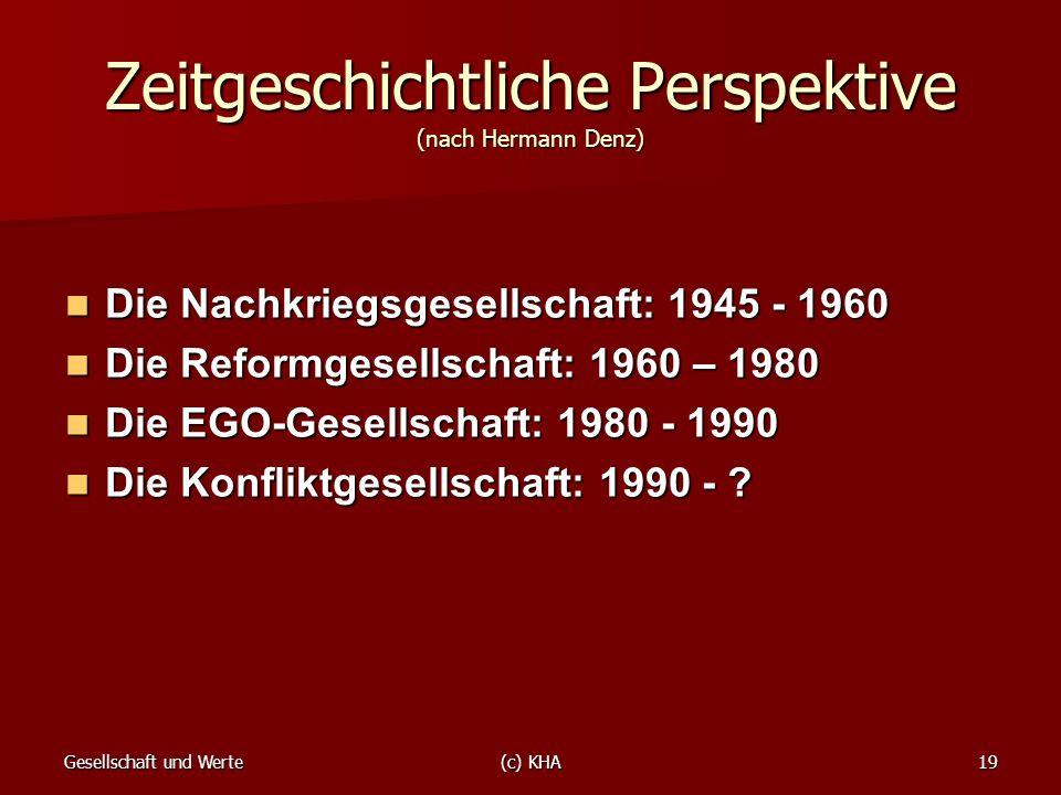 Gesellschaft und Werte(c) KHA19 Zeitgeschichtliche Perspektive (nach Hermann Denz) Die Nachkriegsgesellschaft: 1945 - 1960 Die Nachkriegsgesellschaft: