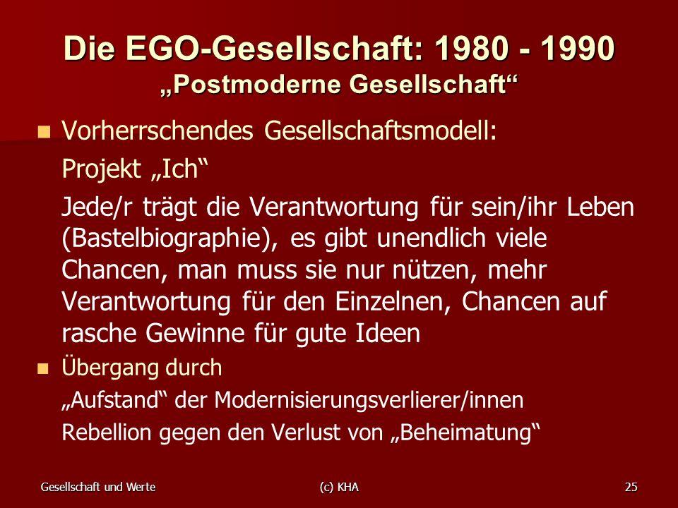 Gesellschaft und Werte(c) KHA25 Die EGO-Gesellschaft: 1980 - 1990 Postmoderne Gesellschaft Vorherrschendes Gesellschaftsmodell: Projekt Ich Jede/r trä