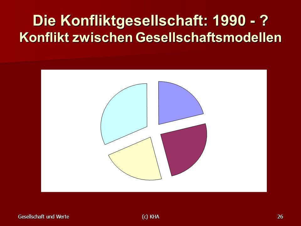Gesellschaft und Werte(c) KHA26 Die Konfliktgesellschaft: 1990 - ? Konflikt zwischen Gesellschaftsmodellen