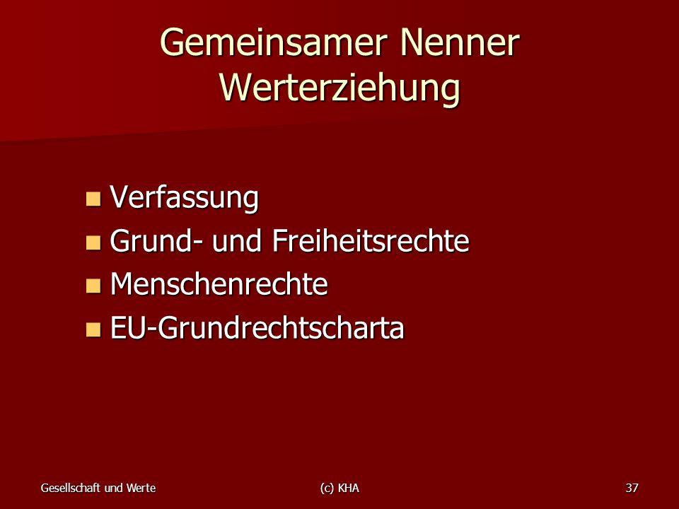 Gesellschaft und Werte(c) KHA37 Gemeinsamer Nenner Werterziehung Verfassung Verfassung Grund- und Freiheitsrechte Grund- und Freiheitsrechte Menschenr