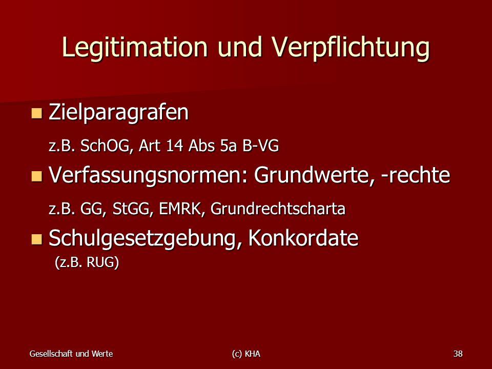 Gesellschaft und Werte(c) KHA38 Legitimation und Verpflichtung Zielparagrafen Zielparagrafen z.B. SchOG, Art 14 Abs 5a B-VG Verfassungsnormen: Grundwe