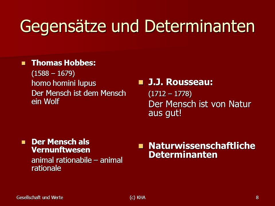 Gesellschaft und Werte(c) KHA8 Gegensätze und Determinanten Thomas Hobbes: Thomas Hobbes: (1588 – 1679) homo homini lupus Der Mensch ist dem Mensch ei