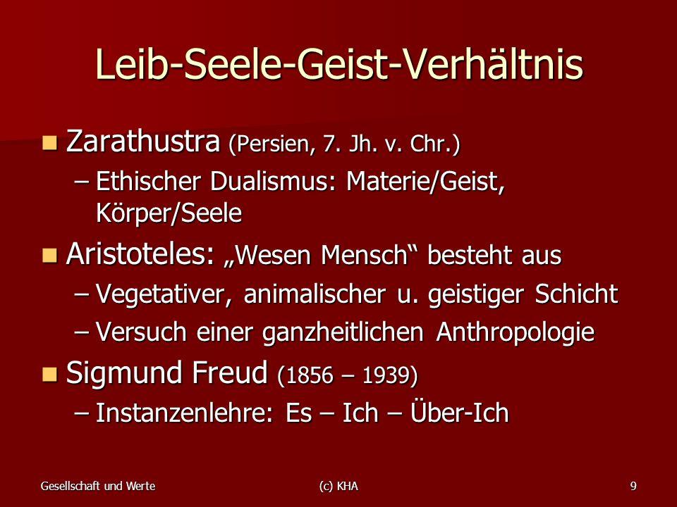 Gesellschaft und Werte(c) KHA9 Leib-Seele-Geist-Verhältnis Zarathustra (Persien, 7. Jh. v. Chr.) Zarathustra (Persien, 7. Jh. v. Chr.) –Ethischer Dual
